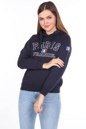 Темно-синий женский свитшот с капюшоном из флиса с аппликацией Paris France - Thumbnail