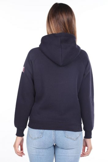 MARKAPIA WOMAN - Paris France Applique Navy Blue Inner Fleece Hooded Women's Sweatshirt (1)