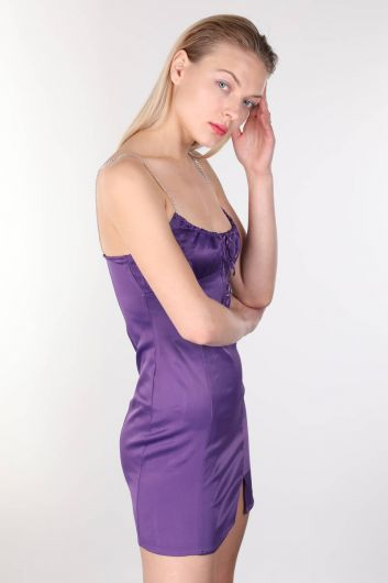 MARKAPIA WOMAN - Shiny Stone Strappy Satin Purple Mini Women's Dress (1)