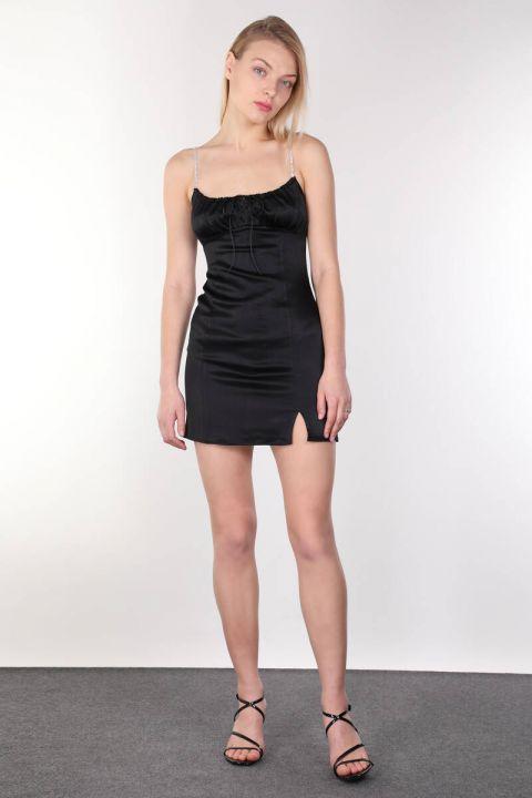 Parlak Taşlı Askılı Saten Siyah Mini Kadın Elbise