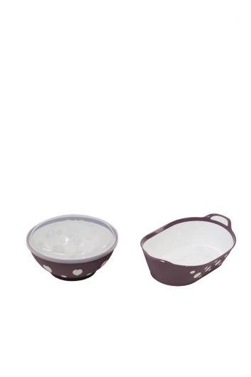 Набор чаши с круглой крышкой и овальной корзиной с рисунком - Thumbnail