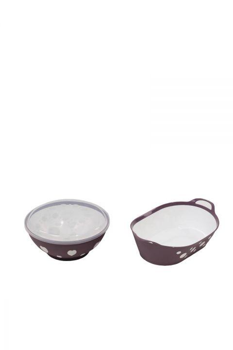 Набор чаши с круглой крышкой и овальной корзиной с рисунком
