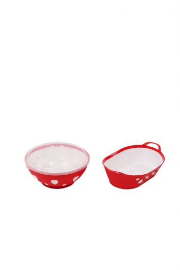 Patterned Round Lid Bowl and Oval Basket Set - Thumbnail