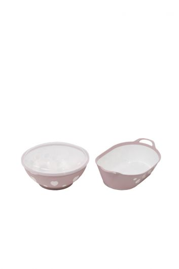 MARKAPIA HOME - Patterned Round Lid Bowl and Oval Basket Set (1)