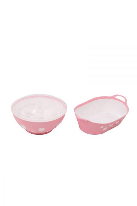 Patterned Round Lid Bowl and Oval Basket Set