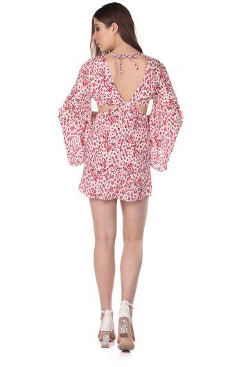فستان قصير منقوش بظهر منخفض - Thumbnail