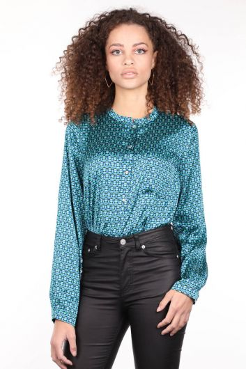 Patterned Buttoned Satin Women's Blouse - Thumbnail