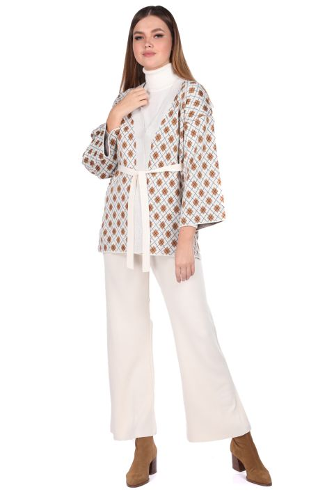 Patterned Knitted Ecru Pants Cardigan Women Knitwear Suit