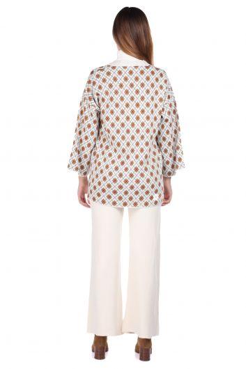 MARKAPIA WOMAN - Узорчатый вязаный кардиган с брюками цвета экрю, женский трикотажный костюм (1)