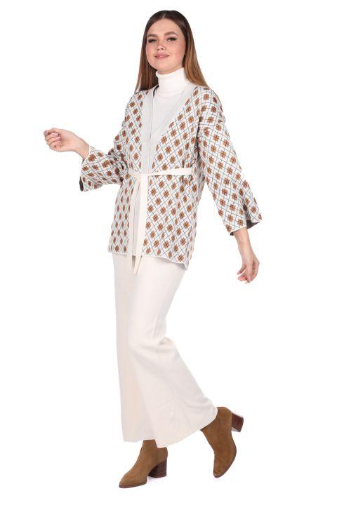 Узорчатый вязаный кардиган с брюками цвета экрю, женский трикотажный костюм