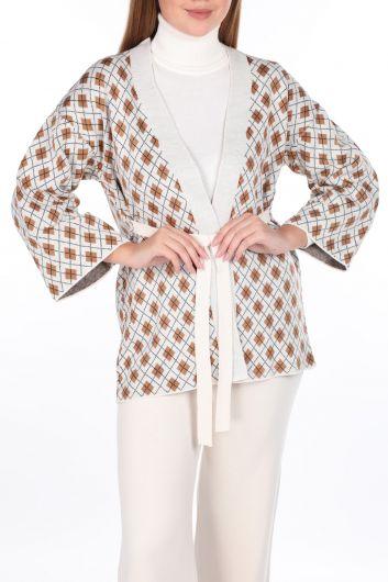 Узорчатый вязаный кардиган с брюками цвета экрю, женский трикотажный костюм - Thumbnail