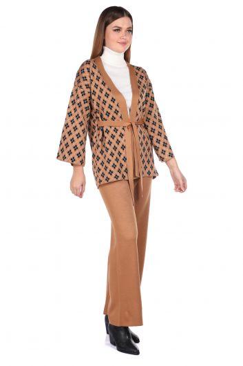 MARKAPIA WOMAN - منقوشة محبوك بنطلون كارديجان بدلة نسائية تريكو (1)