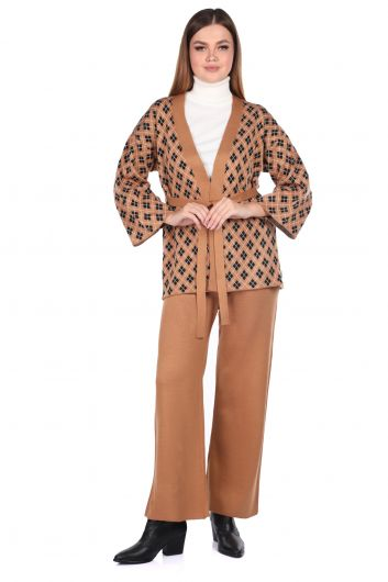 Patterned Knitted Trousers Cardigan Women Knitwear Suit - Thumbnail
