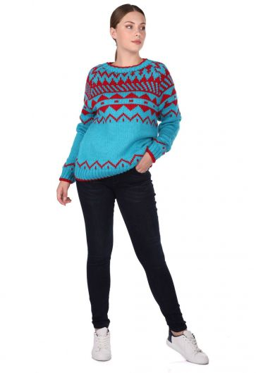 MARKAPIA WOMAN - Patterned Crew Neck Thick Knitwear Sweater (1)