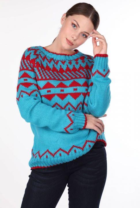 Patterned Crew Neck Knitwear Sweater