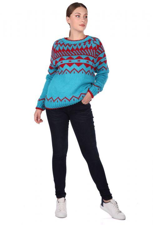 Плотный трикотажный свитер с узором с круглым вырезом