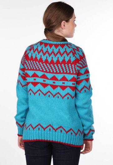 Плотный трикотажный свитер с узором с круглым вырезом - Thumbnail