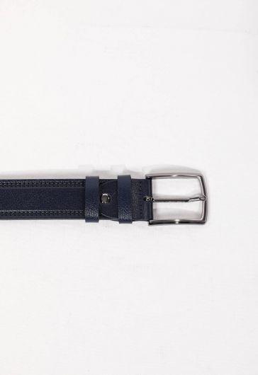 حزام جلد طبيعي مزخرف باللون الأزرق الداكن للرجال - Thumbnail