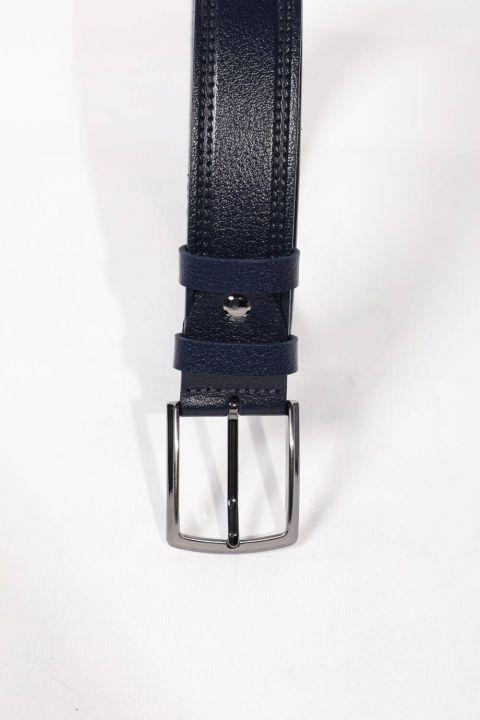 Patterned Navy Blue Men's Genuine Leather Belt