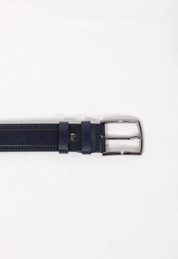 Patterned Navy Blue Men's Genuine Leather Belt - Thumbnail
