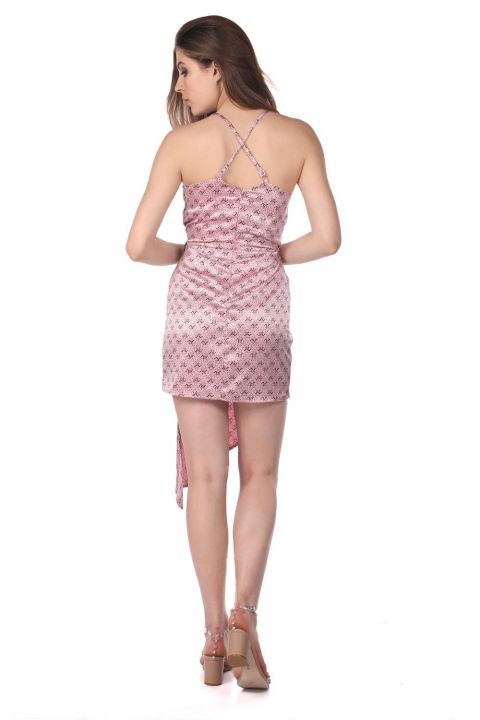 Patterned Satin Dress-Pink