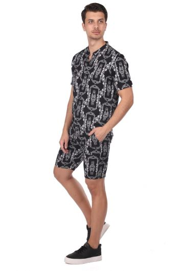 ROSE LONDON - Patterned Men's Shirt-Short Set (1)