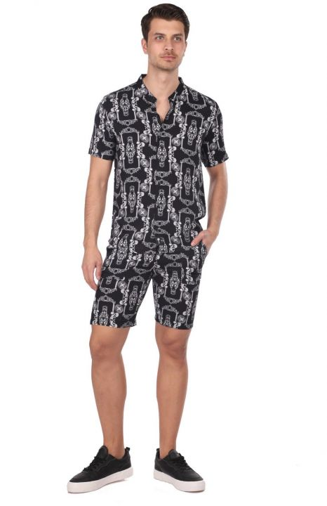 Patterned Men's Short Shorts - Black