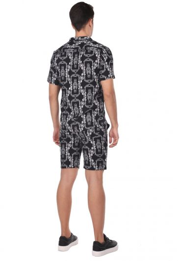 Patterned Men's Short Shorts - Black - Thumbnail