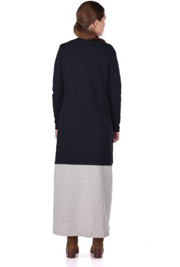 Payet İşlemeli Önü Açık Uzun Kadın Hırka - Thumbnail