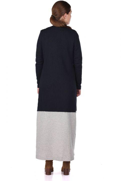 Payet İşlemeli Önü Açık Uzun Kadın Hırka