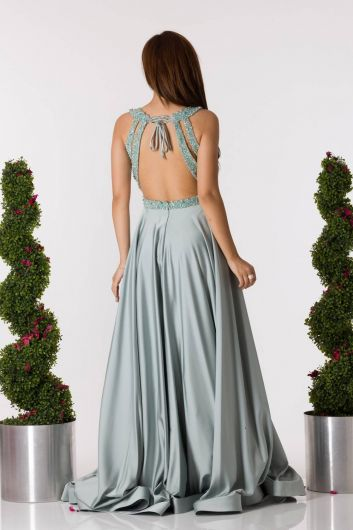 shecca - Low Back Long Mint Green Engagement Dress (1)