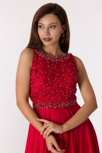 Long Red Engagement Dress With Low Back - Thumbnail