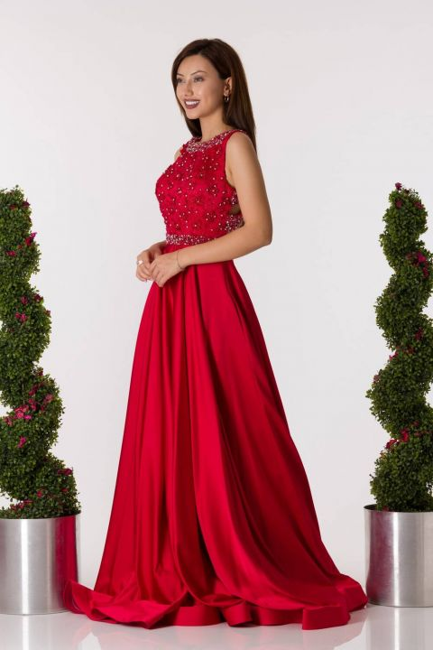 Long Red Engagement Dress With Low Back