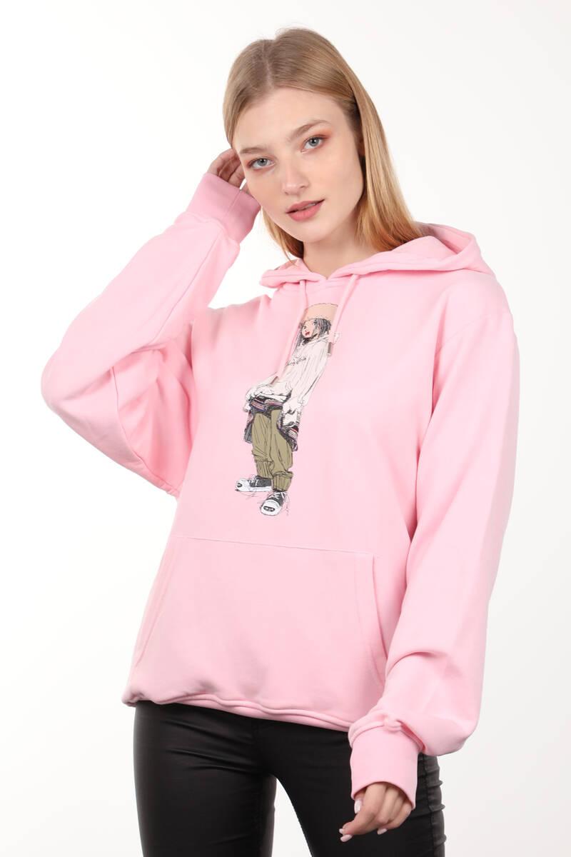 Pembe Baskılı Kapüşonlu Oversize Kadın Sweatshirt