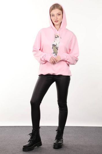 Pembe Baskılı Kapüşonlu Oversize Kadın Sweatshirt - Thumbnail