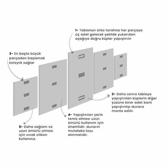 MARKAPIA HOME - Pembe Buket Gül 5 Parçalı Mdf Tablo (1)