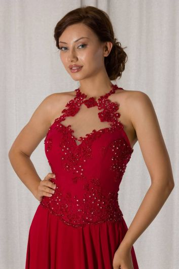 Shecca By Dayi - Lace Detailed Beaded Red Long Evening Dress (1)
