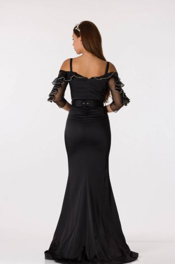 shecca - Black Long Satin Evening Dress With Belt Detailed Frilly Sleeves (1)