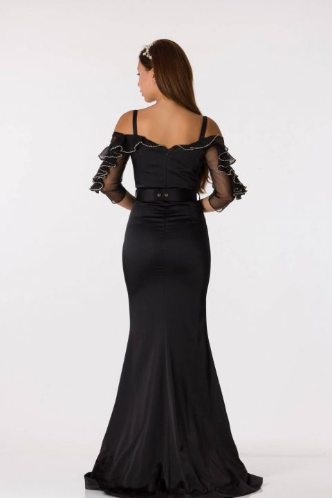Black Long Satin Evening Dress With Belt Detailed Frilly Sleeves