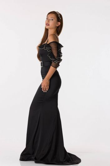 Black Long Satin Evening Dress With Belt Detailed Frilly Sleeves - Thumbnail