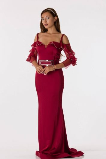 Shecca By Dayi - Long Sleeve Strappy Burgundy Evening Dress (1)