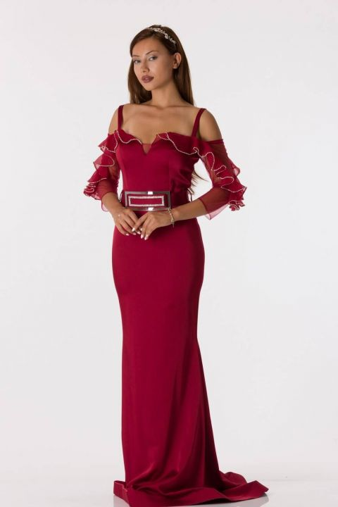 Long Sleeve Strappy Burgundy Evening Dress