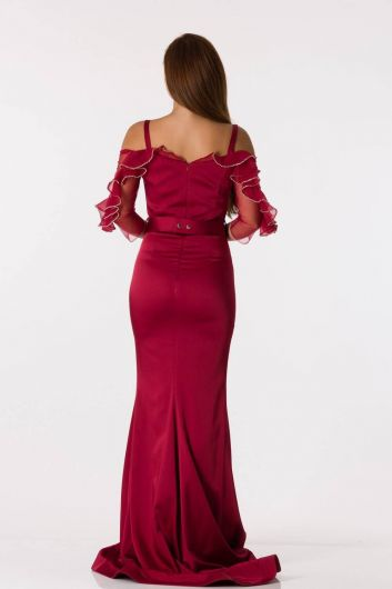 Long Sleeve Strappy Burgundy Evening Dress - Thumbnail