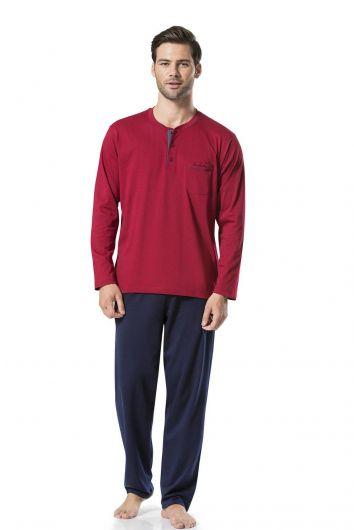 Pierre Cardin Men's Long Sleeve Combed CottonPajamas - Thumbnail