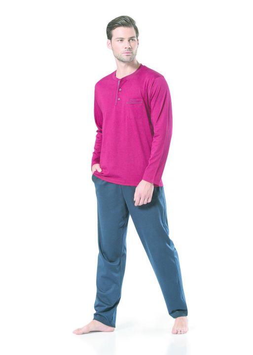 Pierre Cardin Men's Long Sleeve Combed CottonPajamas
