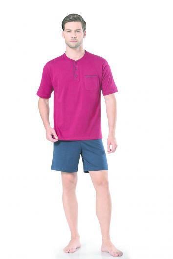 Pierre Cardin Men's Short Sleeve Combed Cotton Pajamas - Thumbnail