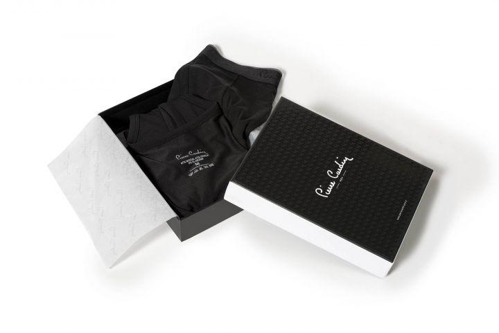 طقم بوكسر تي شيرت أسود للرجال من بيير كاردان ، 3 قطع