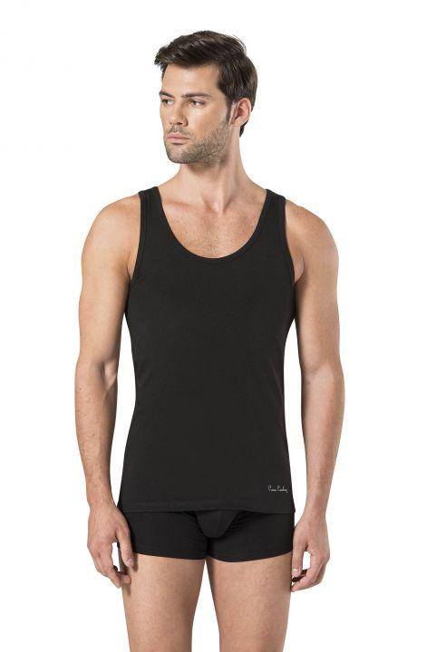 Pierre Cardin Men's Black Stretch Undershirt Boxer Set 3 Pieces