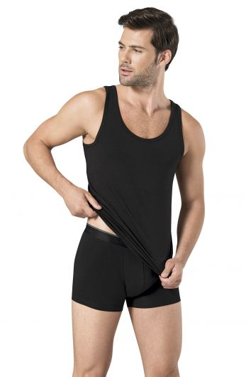 Pierre Cardin - Pierre Cardin Men's Black Stretch Undershirt Boxer Set 3 Pieces (1)