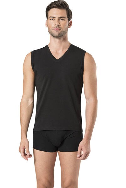 Pierre Cardin - Pierre Cardin Men's Sleeveless V-Neck Black Athlete 5 Pieces (1)